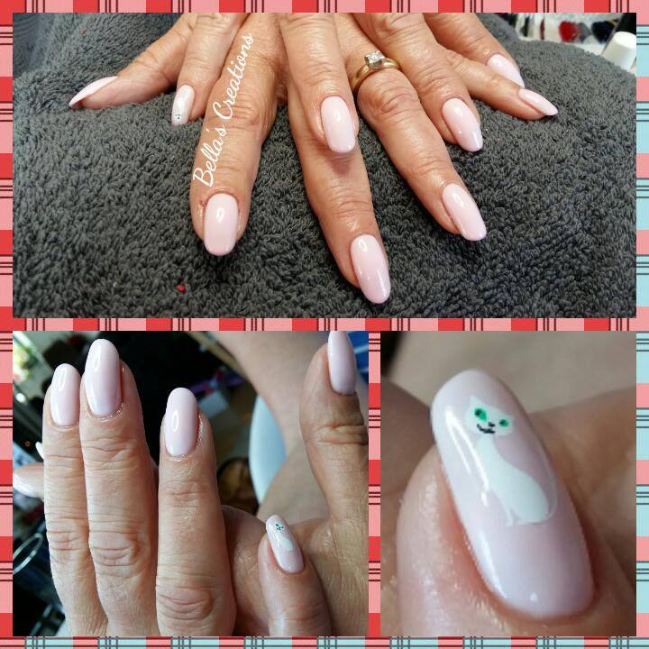 Gelish met nailart katje (water decall)